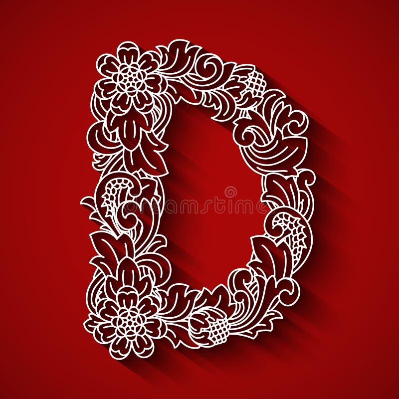 纸切口,白色信件D 红色背景 花饰,巴厘语传统风格 库存照片