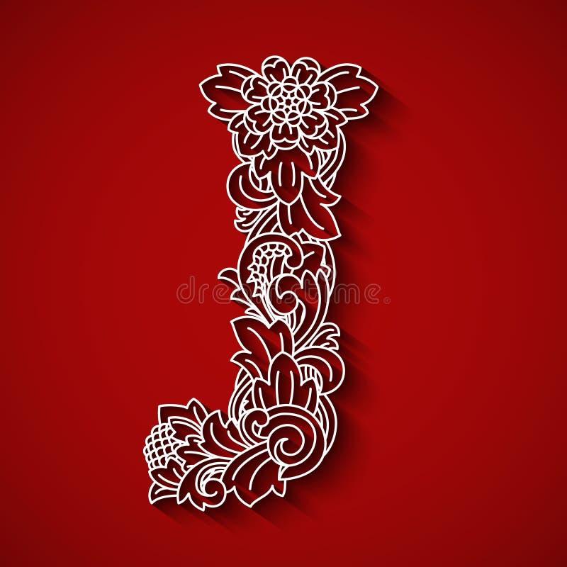 纸切口,白色信件J 红色背景 花饰,巴厘语传统风格 免版税库存图片