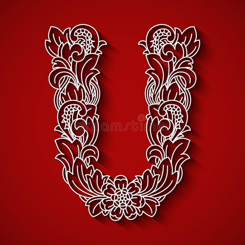 纸切口,白色信件U 红色背景 花饰,巴厘语传统风格 库存图片
