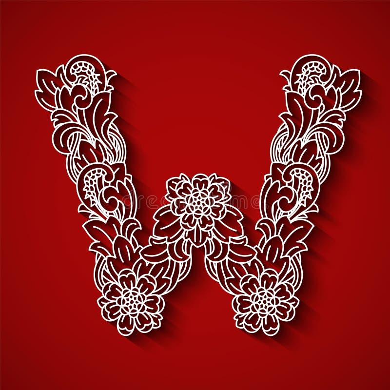 纸切口,白色信件W 红色背景 花饰,巴厘语传统风格 图库摄影