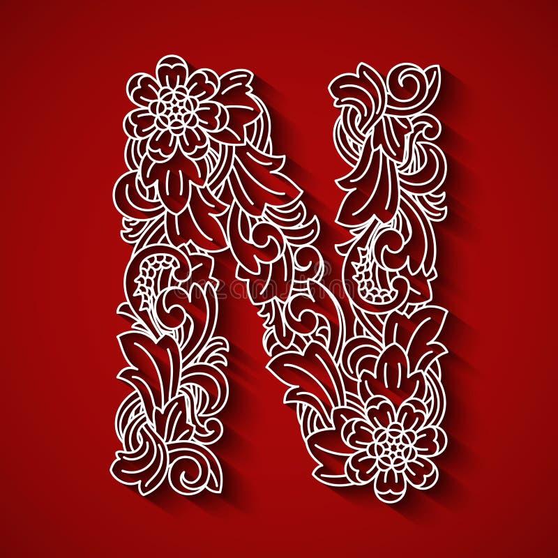 纸切口,白色字母N 红色背景 花饰,巴厘语传统风格 免版税库存照片
