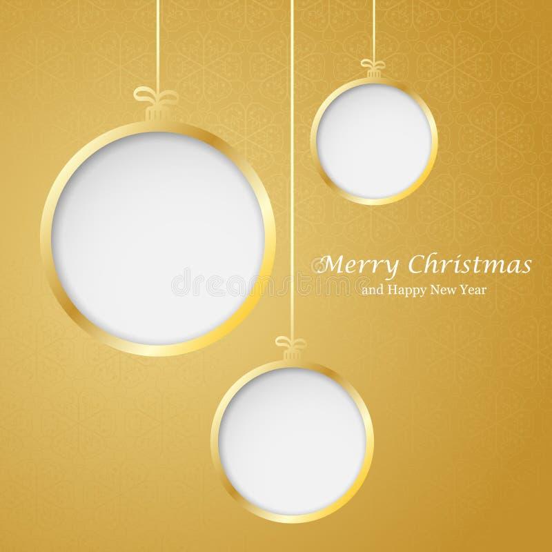从纸切开的抽象圣诞节球 向量例证