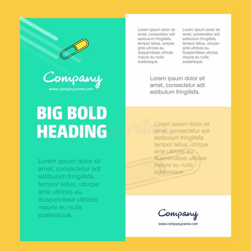 纸别针商业公司海报模板 文本和图象的地方 向量背景 库存例证