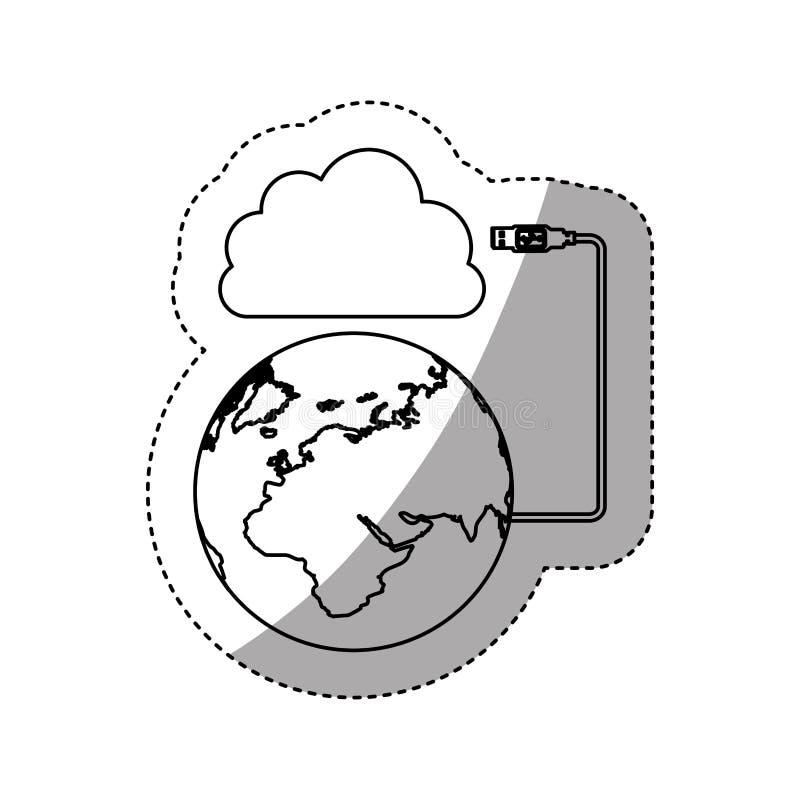 贴纸剪影云彩存贮全球性主持的数据库 向量例证