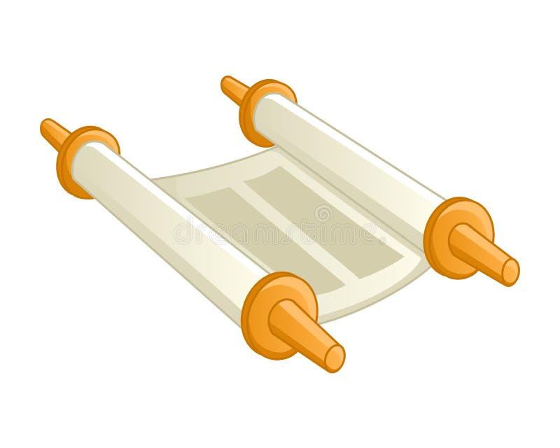 纸卷或纸莎草在卷 在白色背景隔绝的颜色象 也corel凹道例证向量 能用为设计贺卡,横幅, 库存例证