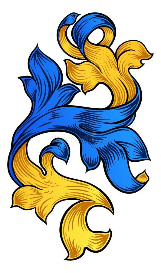 纸卷样式金银细丝工的花卉纹章设计 皇族释放例证