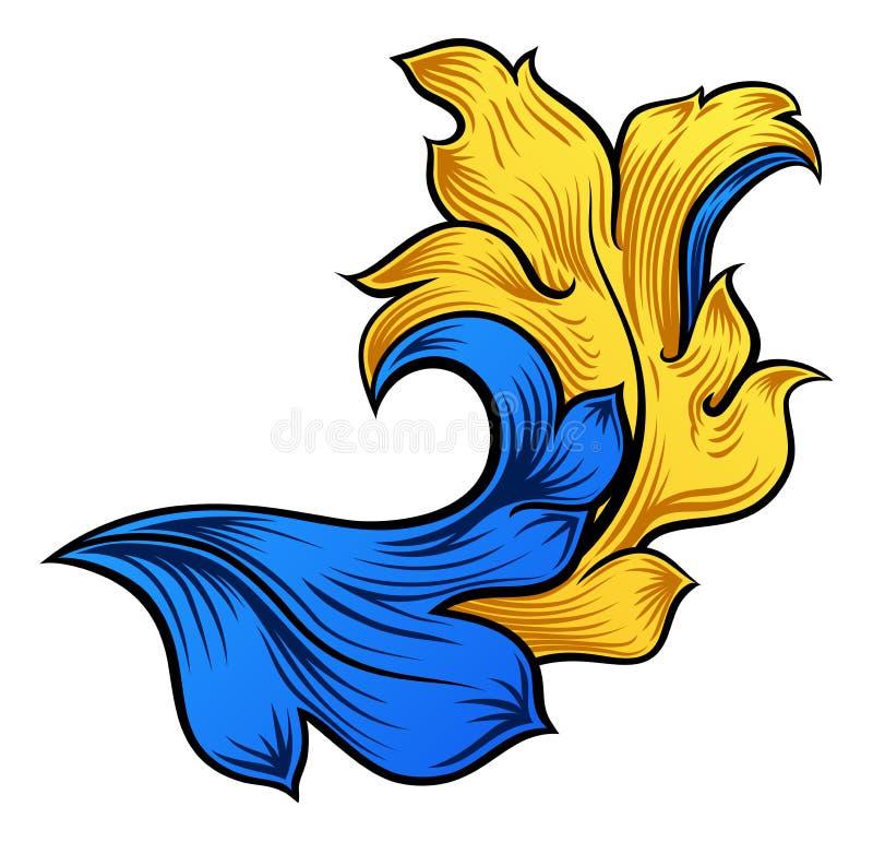 纸卷金银细丝工的花卉样式纹章设计 皇族释放例证