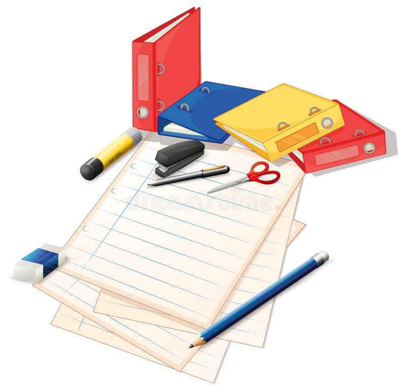 纸和其他办公用品 库存例证