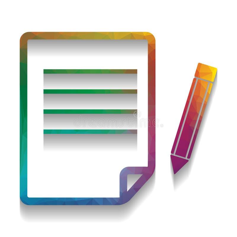 纸和铅笔标志 向量 与明亮的纹理的五颜六色的象 库存例证