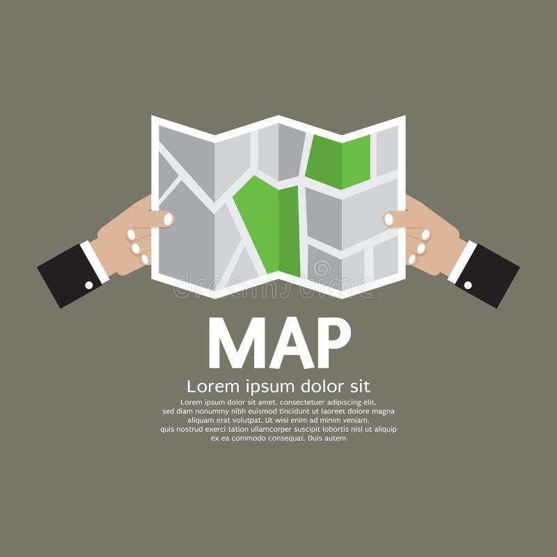 纸地图在手中 皇族释放例证
