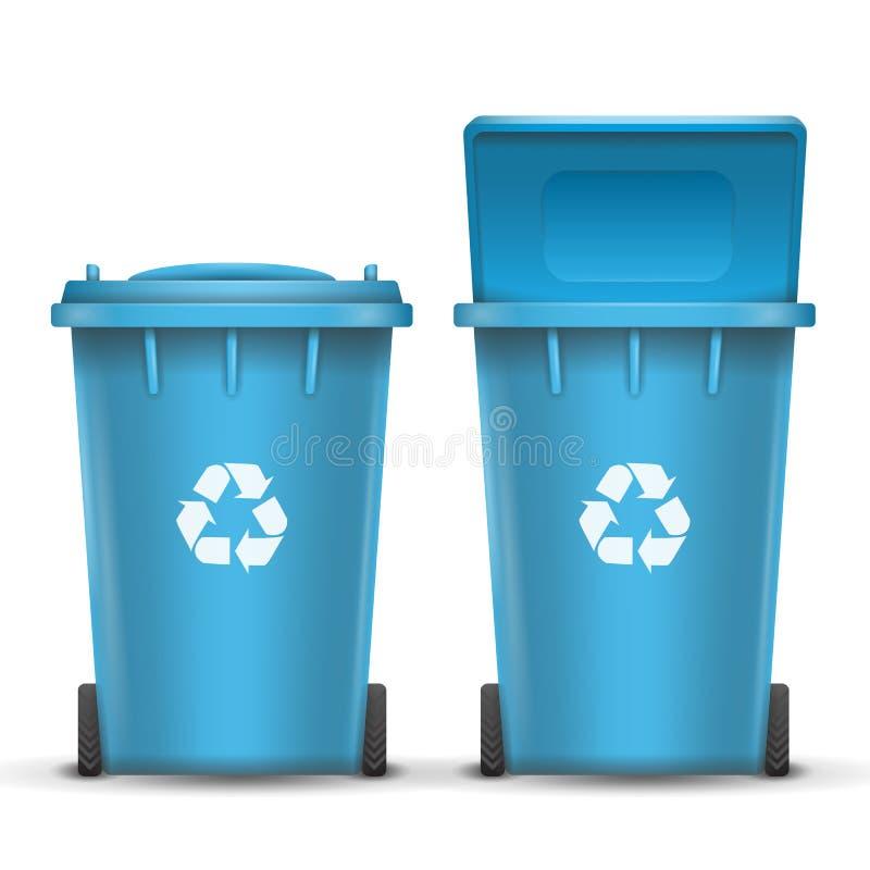 纸垃圾的蓝色回收站桶传染媒介 打开和关闭 正面图 标志箭头 按钮查出的现有量例证推进s启动妇女 皇族释放例证
