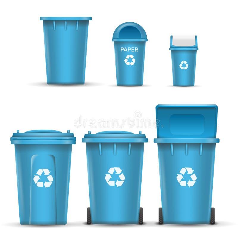 纸垃圾的蓝色回收站桶传染媒介 打开和关闭 正面图 标志箭头 按钮查出的现有量例证推进s启动妇女 库存例证