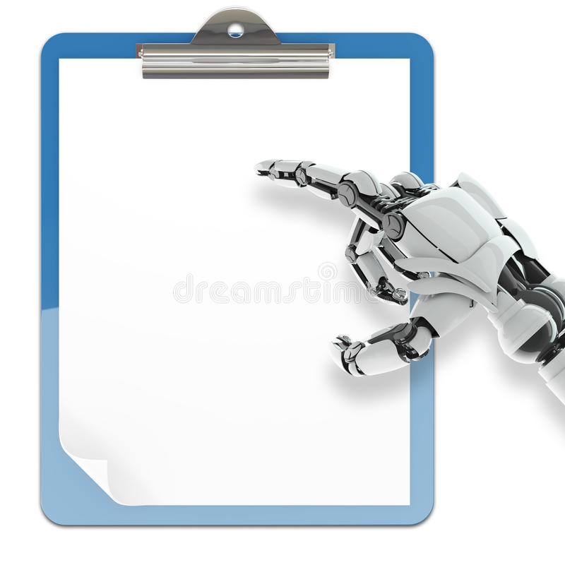 纸填充持有人和机器人胳膊 库存图片