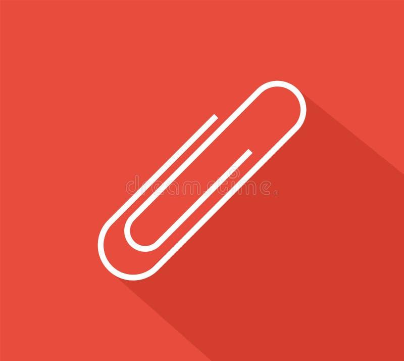 纸夹在红色背景的标志象 平的样式 也corel凹道例证向量 向量例证