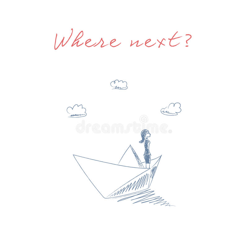 纸小船剪影手拉的传染媒介标志的女商人 冒险,自由,机会的企业概念和 库存例证