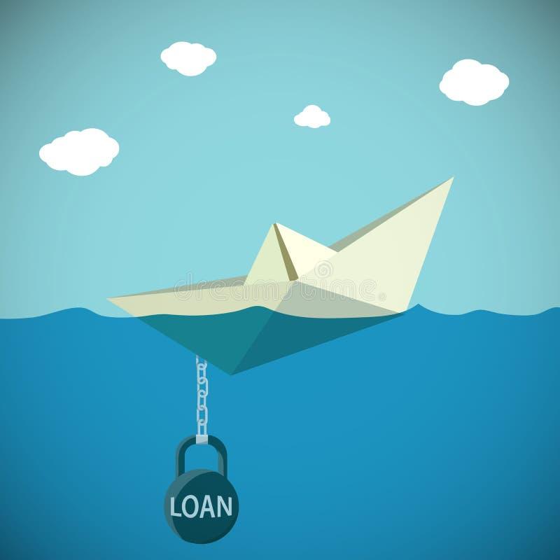 纸小船被束缚对与题字贷款的重量 stoc 向量例证