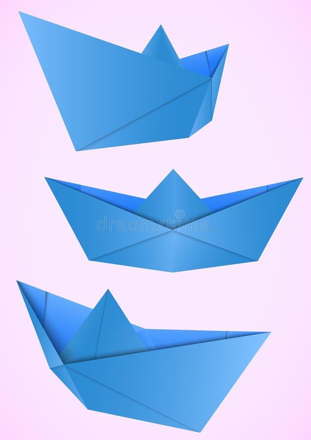 纸小船3D样式 库存例证