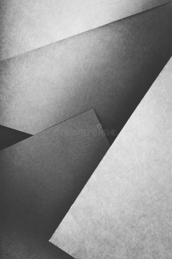 纸层数摘要几何灰色板料拼贴画 免版税库存照片