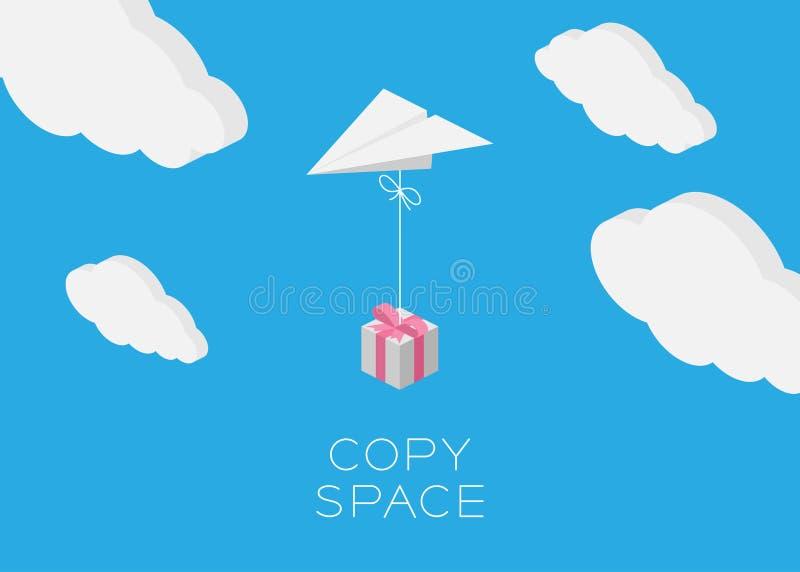 纸平面垂悬的礼物盒飞行 皇族释放例证