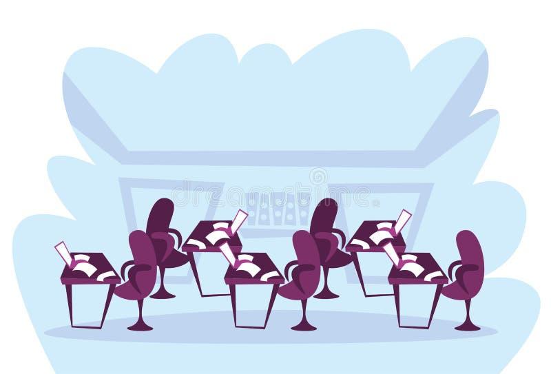 纸张文件的办公室工作区coworking企业开放工作场所内部动画片家具膝上型计算机主持空的顶楼 皇族释放例证