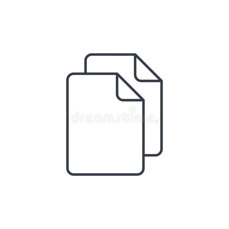 纸张文件,存档元件稀薄的线象 线性传染媒介标志 库存例证