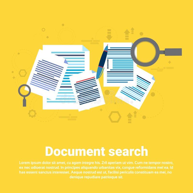 纸张文件查寻放大镜文书工作企业网横幅 皇族释放例证