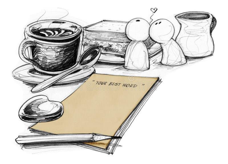 纸恋人概念的被画的笔记和咖啡 向量例证