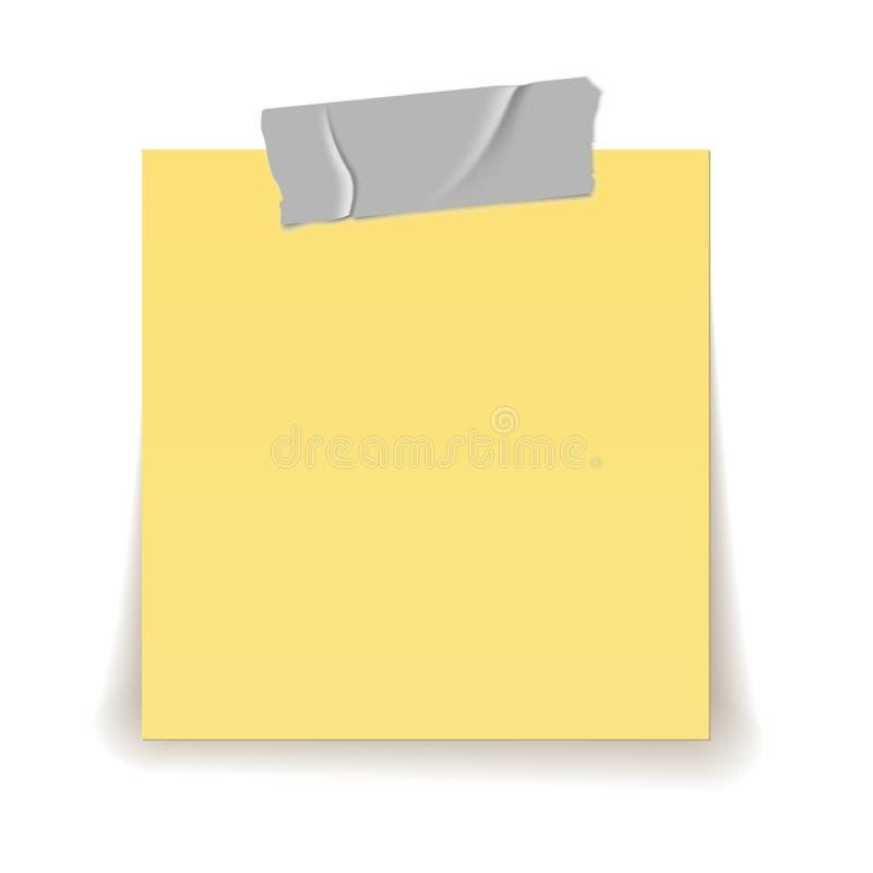 纸提示 透明胶带小条在黄色重要板料现实3d的片断棍子隔绝了例证 库存例证