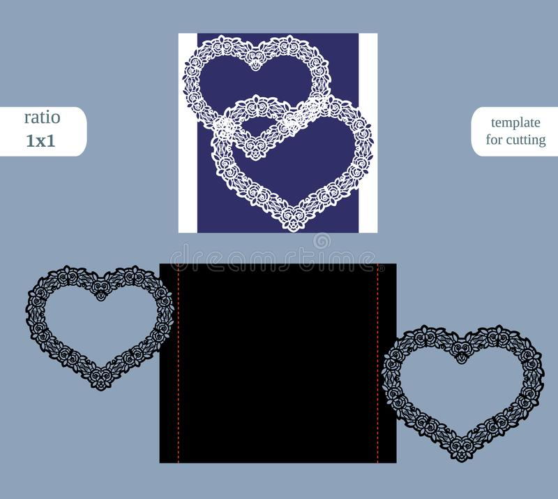 纸方形的贺卡两心脏,婚礼邀请,切开的,在绘图员的裁减,由激光的金属片裁减模板, 向量例证