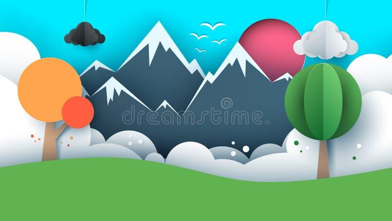纸旅行例证太阳,云彩,小山,山,鸟 向量例证