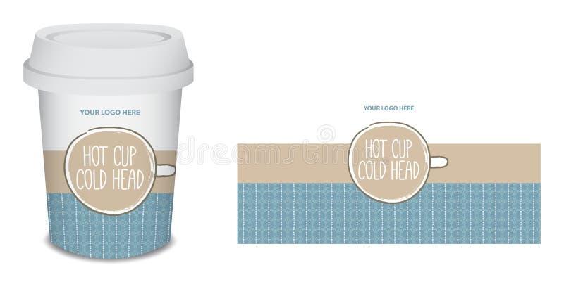 纸杯/杯子在传染媒介的咖啡设计 库存图片