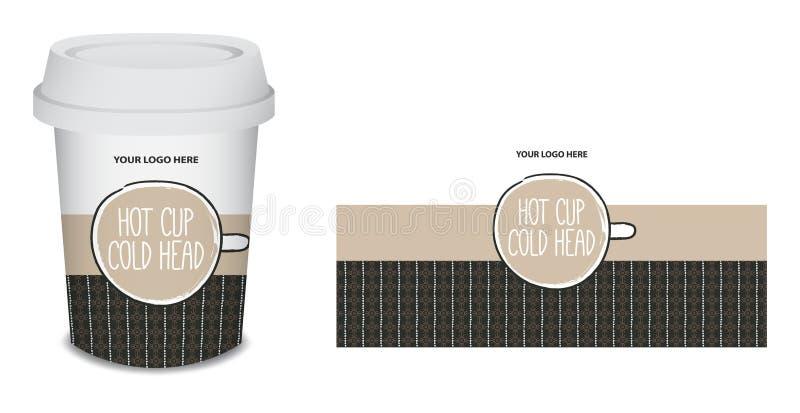 纸杯/杯子在传染媒介的咖啡设计 库存照片