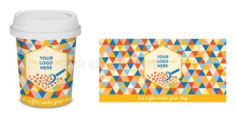 纸杯/杯子您的公司的咖啡设计在传染媒介 免版税库存图片