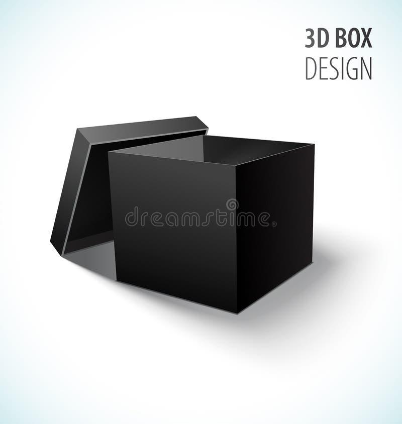 纸板与开放盒盖的黑匣子象 皇族释放例证