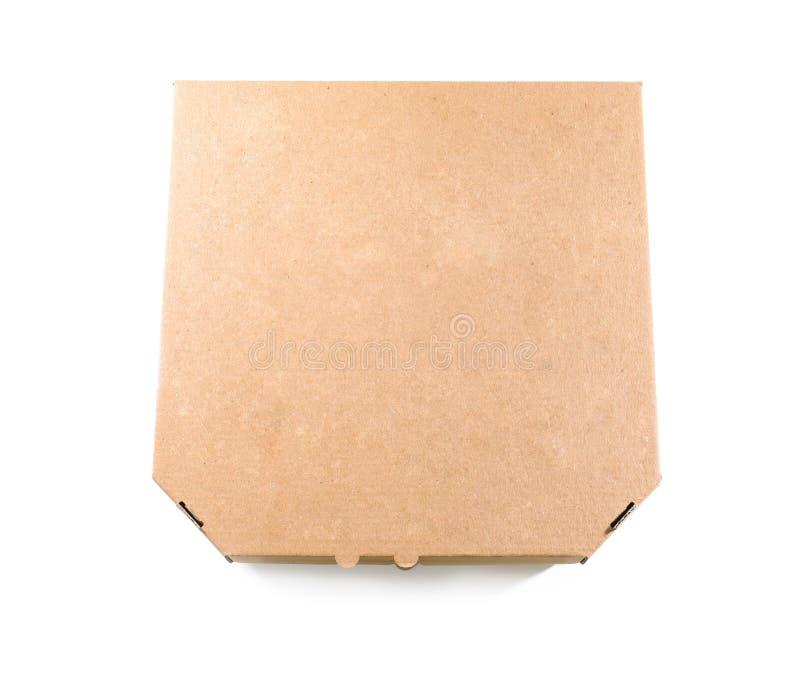 纸板在白色背景,顶视图的比萨箱子 免版税库存照片