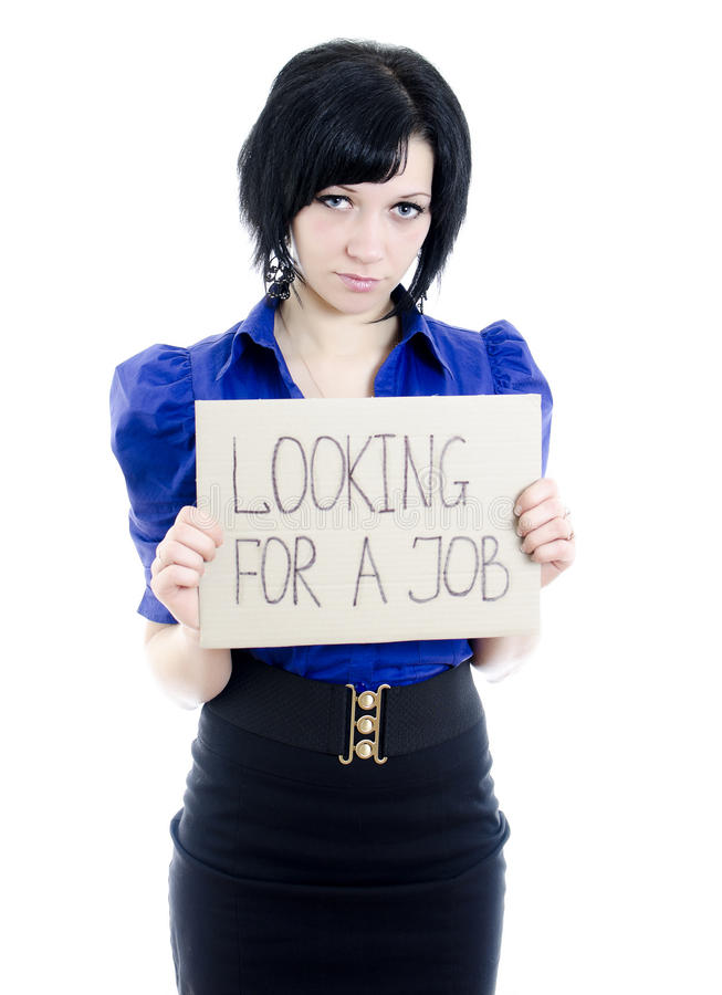 纸板失业者妇女 图库摄影