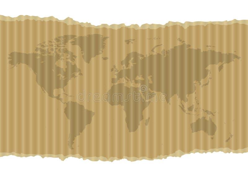 纸板映射世界 向量例证