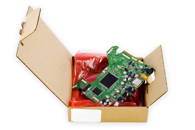 纸板电子装箱零件备件 图库摄影