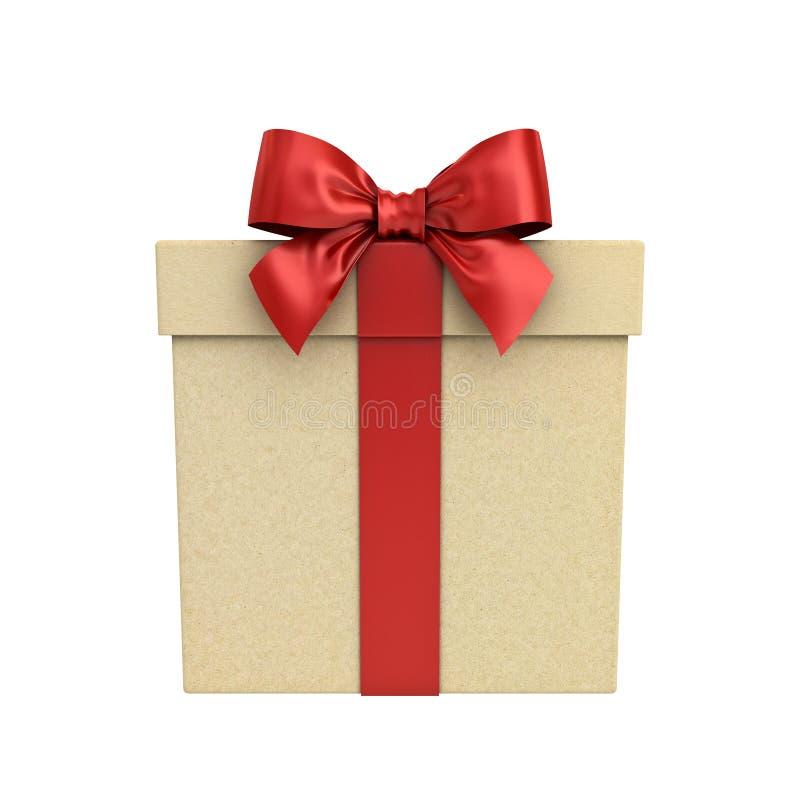 纸板礼物盒或当前箱子有在白色隔绝的红色丝带弓的 库存照片