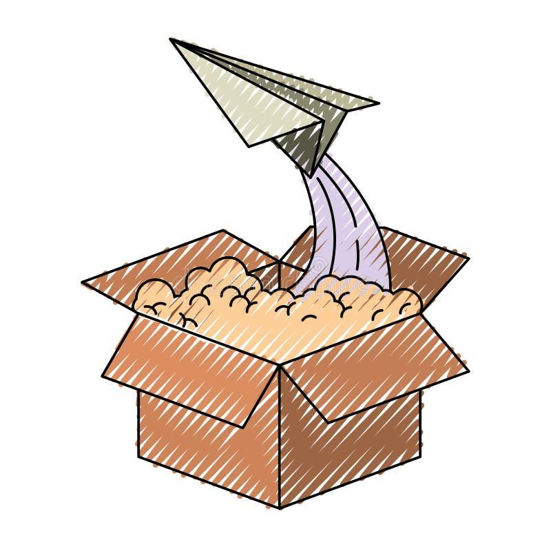 纸板箱和纸平面飞行色的蜡笔剪影  库存例证