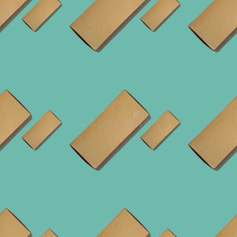 纸板箱无缝的背景在浅兰的颜色的 免版税图库摄影