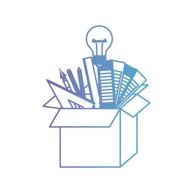 纸板箱有图表在被贬低的紫色的设计工具想法对蓝色等高 向量例证