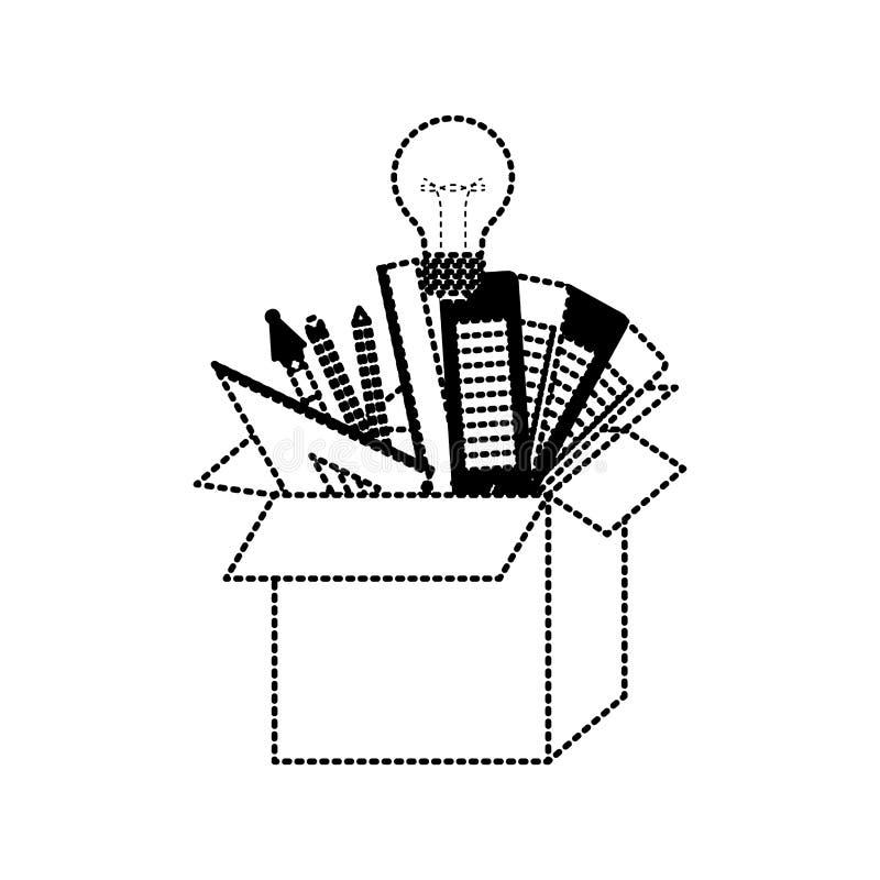 纸板箱有图表在黑色的设计工具想法加点了等高 向量例证
