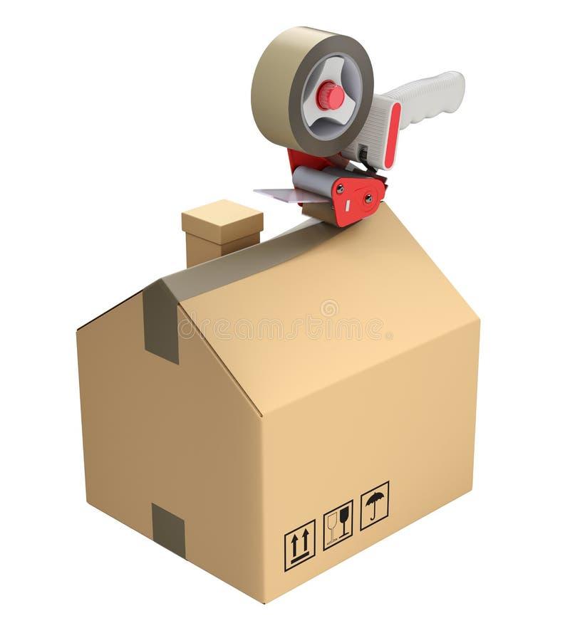 纸板箱的预制的房子 皇族释放例证