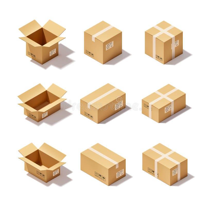 纸板箱集合 皇族释放例证