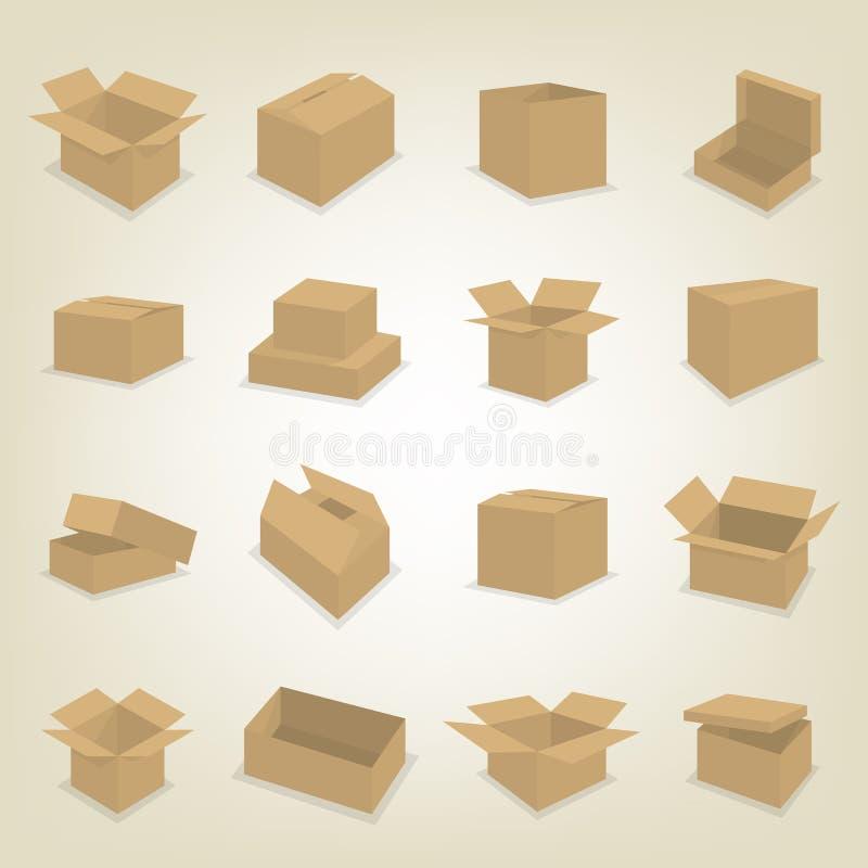 纸板箱,传染媒介例证平的象  皇族释放例证
