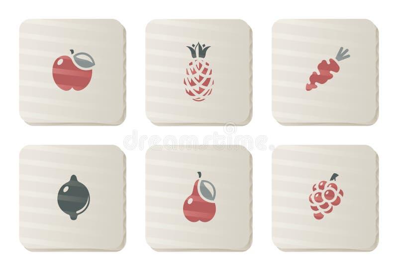 纸板结果实图标系列蔬菜 库存例证