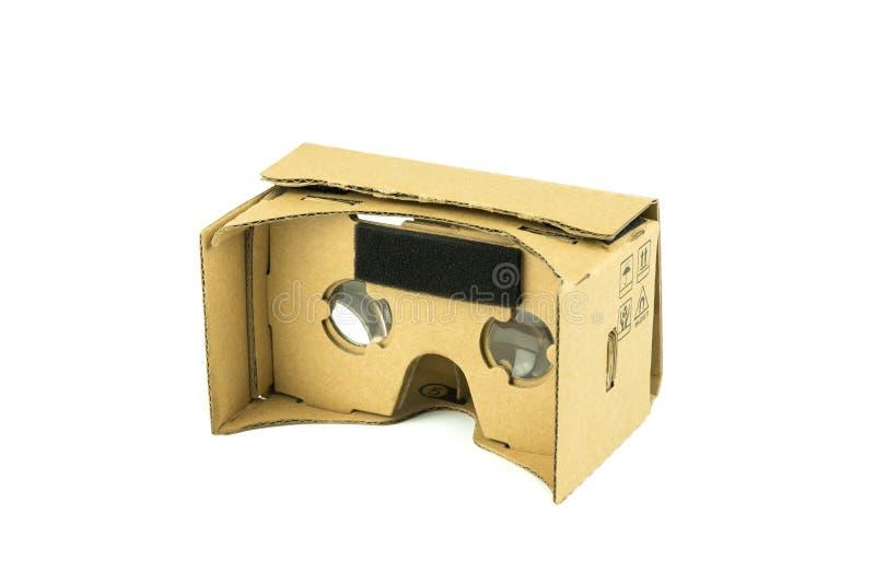 纸板虚拟现实玻璃 免版税库存图片