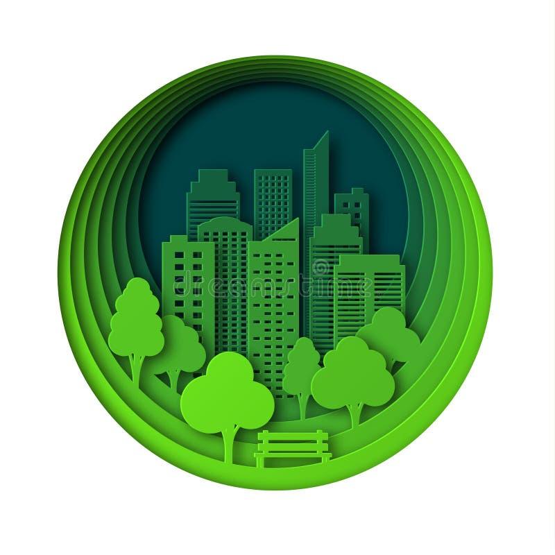 纸样式艺术风景在城市在公园 层状设计室外休闲 由树的长凳 抽象绿色 库存例证