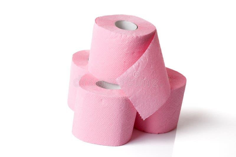 纸桃红色洗手间 免版税库存照片